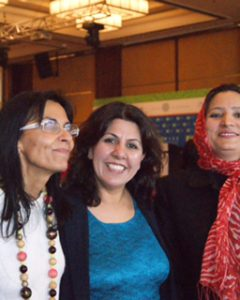 Sima Quraishi, center, with Ceminur Sargut, president of the Turkish Women's Cultural Association, Istanbul (TURKKAD), left, and an Afghan woman activist, right, in Istanbul Turkey. Photo courtesy of Sima Quraishi.