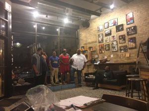 "Clarence ""Sonny"" Hogan hosts Urban Tales: Comedy Storytelling at Kusanya Cafe Saturday night. Nora Younkin/Medill"